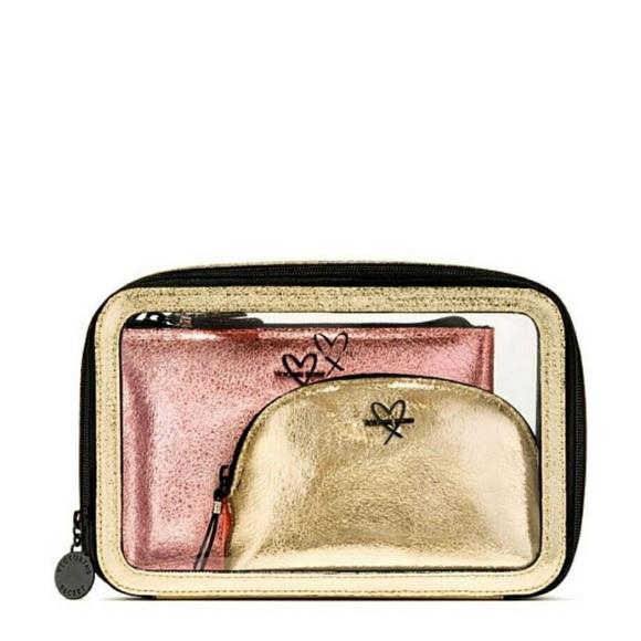 bf83bf03200d NWT Victoria s Secret Metallic Travel Makeup Bags